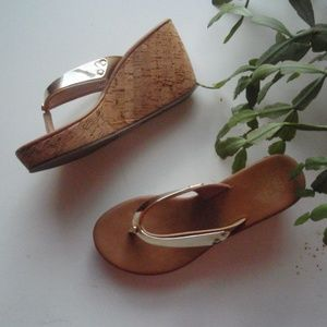 Juicy Couture| Mirrored Gold Flip Flop Cork Wedges